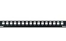 Networking Pannello patch modulare metallico Mini Com 16 porte con barra nera