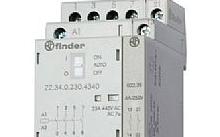 Finder Contattore modulare 25A 230V 4 contatti NO con selettore automatico