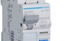 Hager Magnetotermico differenziale acc. 1 Polo+N 30Ma 10 A 4.5 Ka Curva C 2M